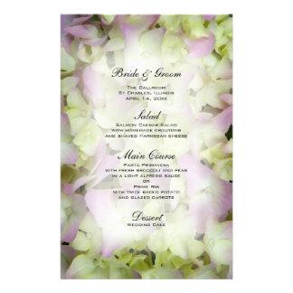 Almost Pink Hydrangea Wedding Menu