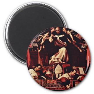 Alms Of Saint Antoninus, By Lotto Lorenzo (Best Qu 6 Cm Round Magnet