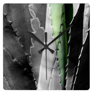Aloe - Macro Fine Art Photograph in Black & White Square Wall Clock