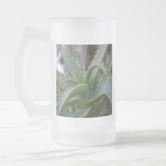 Aloe Vera Leaves Frosted Glass Beer Mug