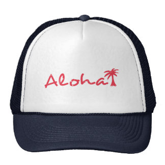 Aloha and palm tree in grunge trucker hat