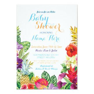 Aloha Baby Shower Tropical Luau Boy Blue Invite