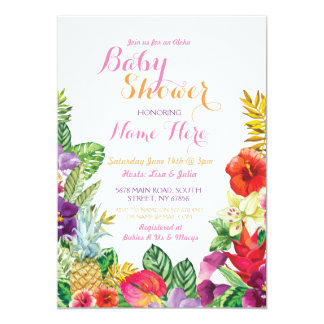 Aloha Baby Shower Tropical Luau Pink Invite