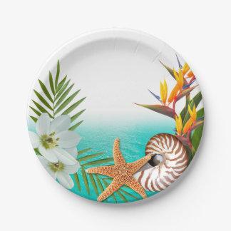 Aloha Beach Plumeria Frangipani Nautilus 7 Inch Paper Plate