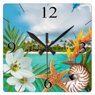 Aloha Beach Plumeria Frangipani Nautilus Wall Clock