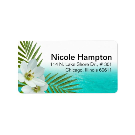 Aloha Beach Tropical Flowers Address Label