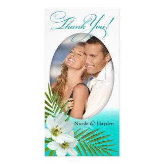 Aloha Beach Tropical Flowers Customized Photo Card