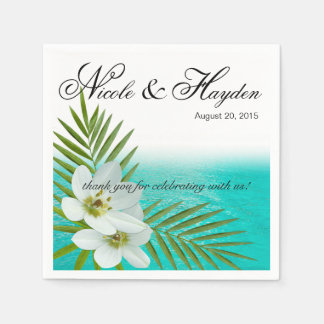 Aloha Beach Tropical Flowers Disposable Napkins