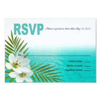 Aloha Beach Tropical Flowers RSVP Card