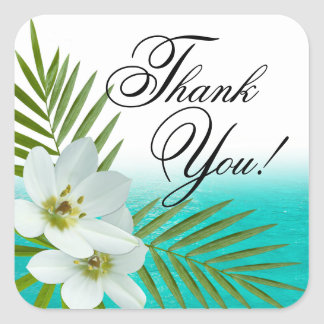 Aloha Beach Tropical Flowers Thank You Square Sticker