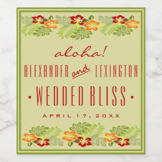 Aloha Beach Wedding Wine Label Hibiscus Flowers