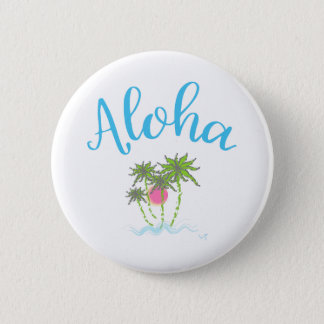Aloha Beaches Hawaiian Style Summer 6 Cm Round Badge