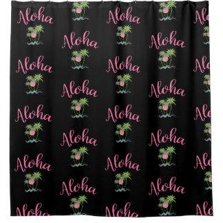 Aloha Beaches Hawaiian Style Summer Black Shower Curtain