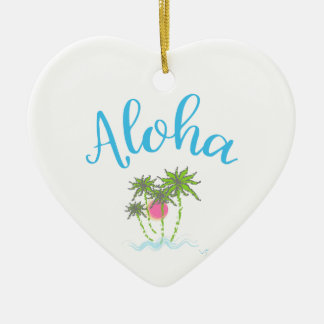 Aloha Beaches Hawaiian Style Summer Ceramic Ornament