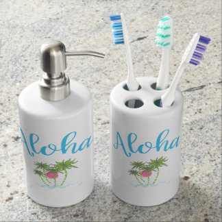 Aloha Beaches Hawaiian Style Summer Tropical Bathroom Set