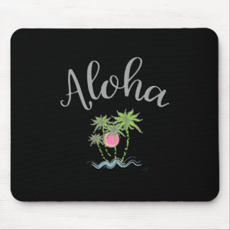 Aloha Beaches Hawaiian Style Summer Tropical Black Mouse Pad