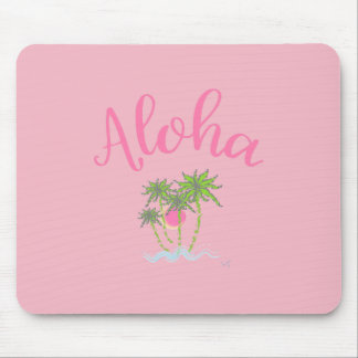 Aloha Beaches Hawaiian Style Summer Tropical Pink Mouse Pad