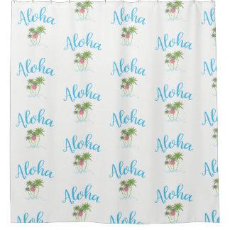 Aloha Beaches Hawaiian Style Summer White Shower Curtain