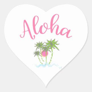 Aloha Beaches Hawaiian Style Summera Heart Sticker