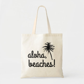 """Aloha, Beaches!"" Palm Tree Tote Bag"