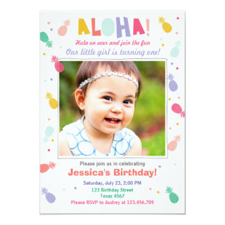 Aloha birthday invitation Tropical Luau Party Girl