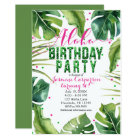ALOHA BIRTHDAY PARTY Tropical Leaves Pink Green Card