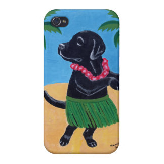 Aloha Black Labrador Painting iPhone 4 Cover