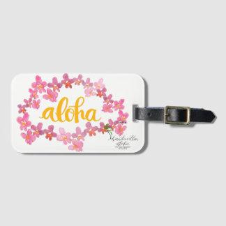 Aloha Bold Orchid Lei Bag Tag - White
