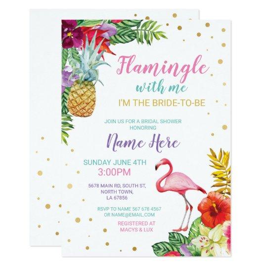 Aloha Bridal Shower Flamingo Gold Invite