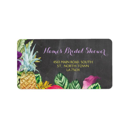 Aloha Bridal Shower Luau Address Labels Stickers