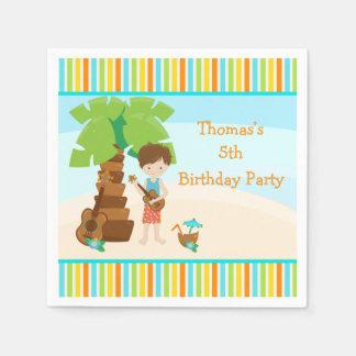 Aloha Brown Hair Boy Party Disposable Napkin