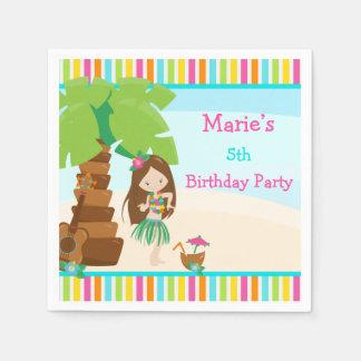 Aloha Brown Hair Girl Party Disposable Napkin