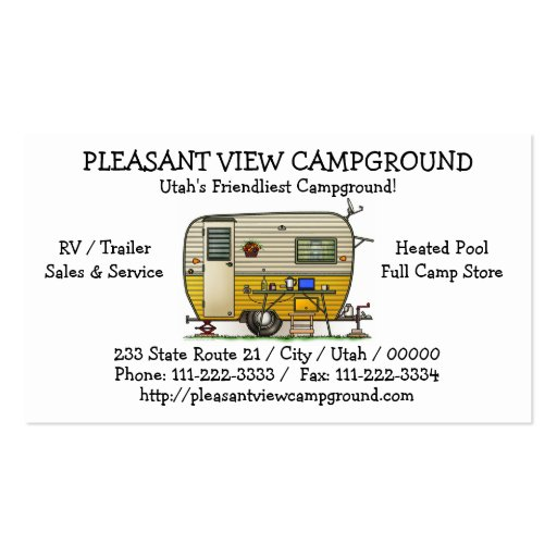 Aloha Camper Trailer Business Card Templates
