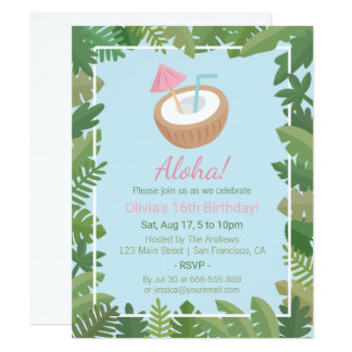 Aloha Coconut Tropical Leaves Birthday Party Card