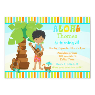 Aloha Cute African American Boy Birthday Party Card
