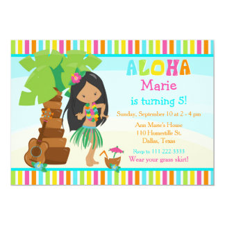 Aloha Cute African American Girl Birthday Party Card
