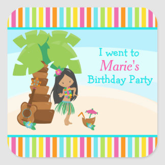Aloha Cute African American Girl Party Square Sticker