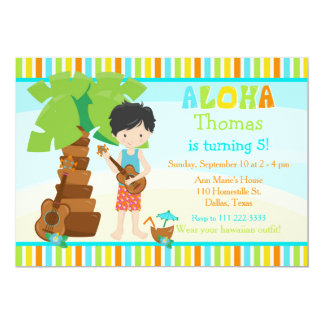 Aloha Cute Black Hair Boy Birthday Party Card