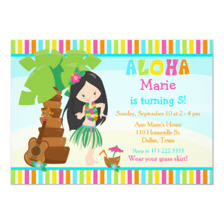 Aloha Cute Black Hair Girl Birthday Party Card