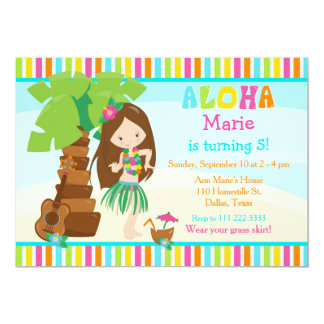 Aloha Cute Brunette Girl Birthday Party Card