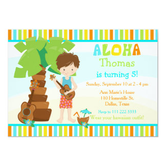 Aloha Cute Brunette Hair Boy Birthday Party Card
