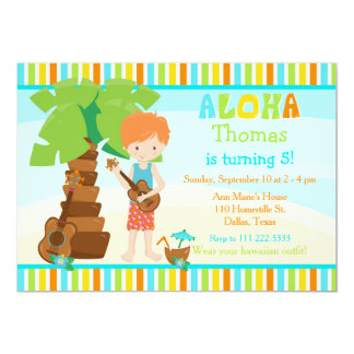 Aloha Cute Red Hair Boy Birthday Party Card