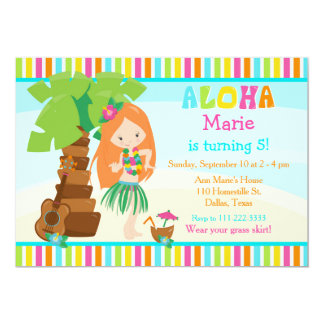 Aloha Cute Red Hair Girl Birthday Party Card