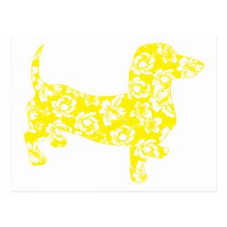 Aloha Dachshund Yellow Postcard