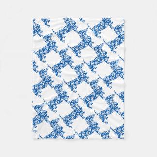 Aloha-Doxie-Blue Fleece Blanket