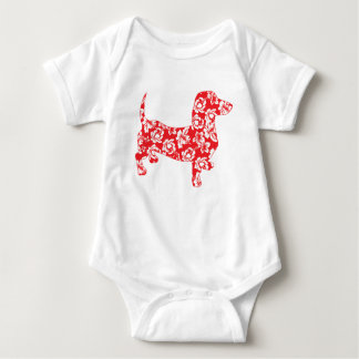 Aloha-Doxie-Red Baby Bodysuit