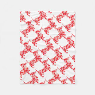 Aloha-Doxie-Red Fleece Blanket