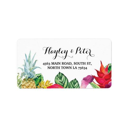 Aloha Elegant Address Luau Wedding Labels Stickers