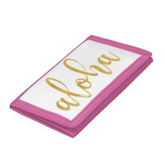 Aloha fancy faux gold glitter brush script tri-fold wallets
