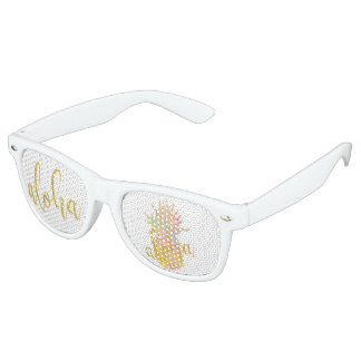Aloha fancy faux gold glitter pastel pineapple retro sunglasses